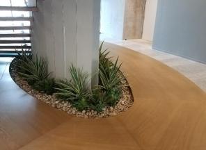 Custom Succulents around Stairway