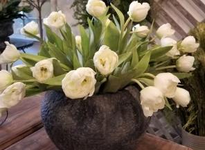 White Tulips in Ceramic Vessel